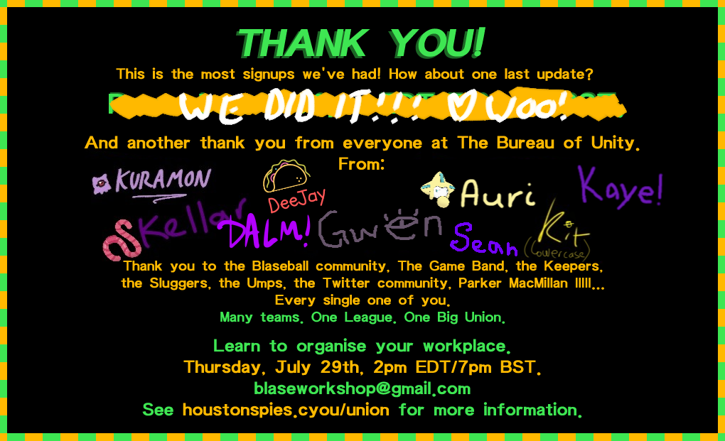 Thank you from the Bureau of Unity